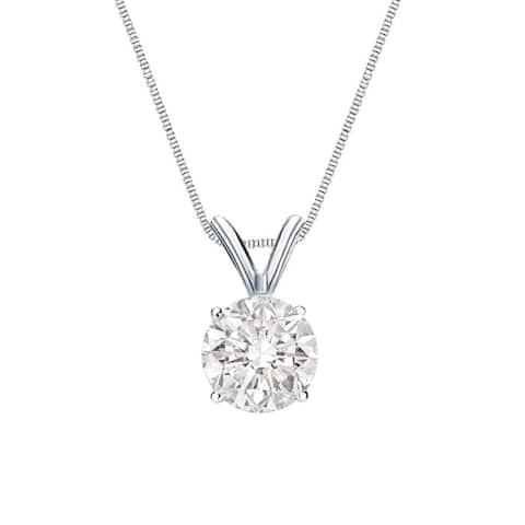 Auriya Clarity-enhanced Round Solitaire Diamond Necklace 1 1/4ctw 14k Gold
