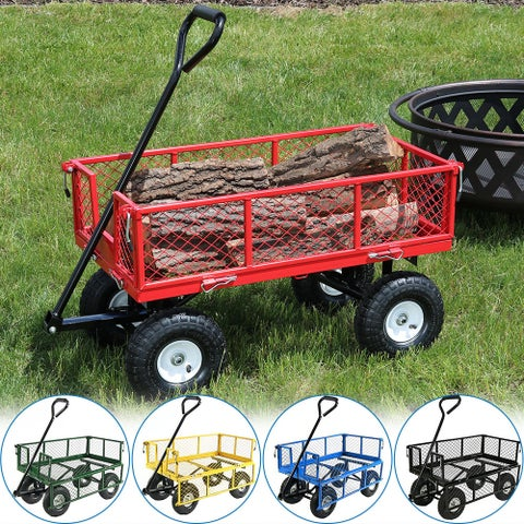 Sunnydaze Heavy-Duty Steel Log Cart, 34 Inches Long x 18 Inches Wide, 400 Pound Weight Capacity