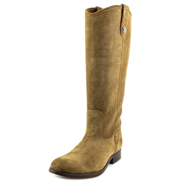 Frye Melissa Button Women Round Toe Leather Tan Mid Calf Boot
