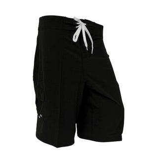 Mens Solid Color Tie Front 4-Way Stretch Comfort Board Shorts (Option: Black - 30)