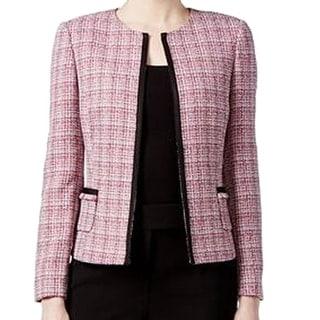 Tahari By ASL NEW Pink Black Tweed Women's Size 22W Plus Fringe Jacket
