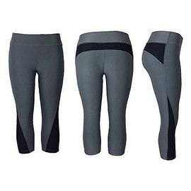Women's Athletic Fitness Sports Yoga Pants Capri Large/X-Large-Grey/Black