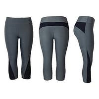Women's Athletic Fitness Sports Yoga Pants Capri Large/X-Large-Grey/Black