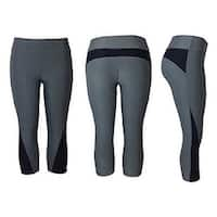 Women's Athletic Fitness Sports Yoga Pants Capri Small-Medium/Grey-Black