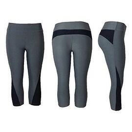 Women's Athletic Fitness Sports Yoga Pants Capri Small-Medium/Grey-Black