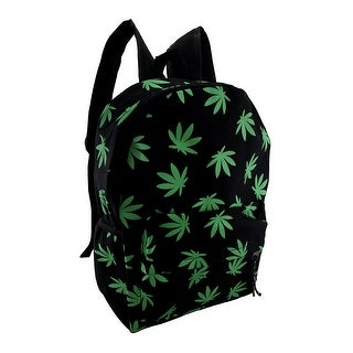 Grass Green Hemp Plant Leaf Print Black Canvas Backpack