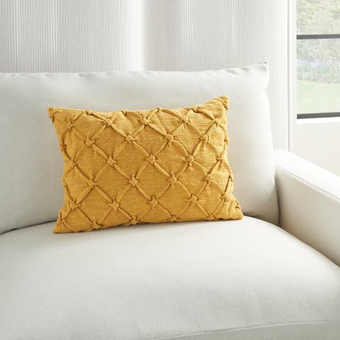 Kathy Ireland Pin Tuck Textured Modern Farmhouse Bohemian Cotton Throw Pillow