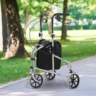 HOMCOM Steel Walker for Seniors, Three Wheel Adjustable Height Rollator with Handbrakes and Storage Bag