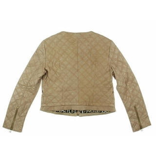 Zara Basic Womens Leather Quilted Cropped Jacket - XL