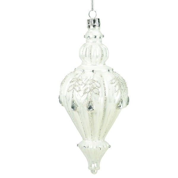 """6"""" Winter's Beauty Shiny White Glitter and Gems Finial Christmas Ornament"""