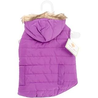 Fashion Pet Reversible Puffy Coat-Purple Small