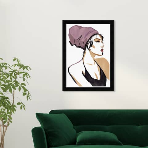 Wynwood Studio 'Of Ink and Watercolor' Fashion and Glam Wall Art Framed Print Portraits - White, Purple