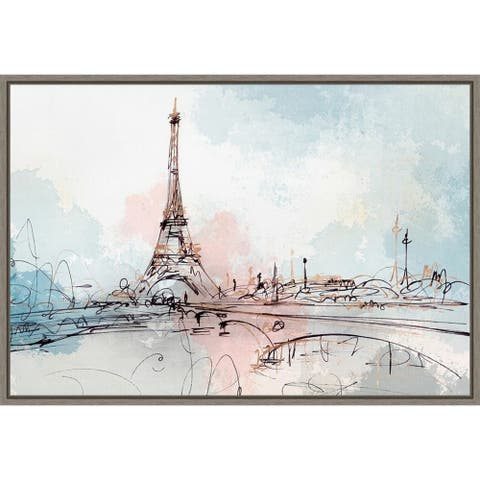 Blushing Paris (Eiffel Tower) by Isabelle Z Framed Canvas Art