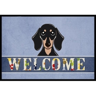 Carolines Treasures BB1401JMAT Smooth Black And Tan Dachshund Welcome Indoor & Outdoor Mat 24 x 36 in.