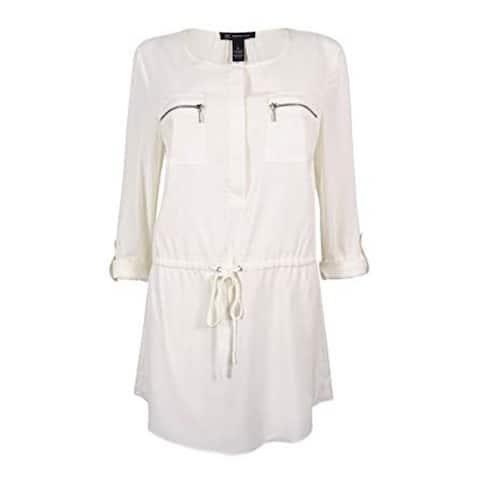 INC Intl' Concepts Women's Drawstring Tunic Top, Windsor White, 4