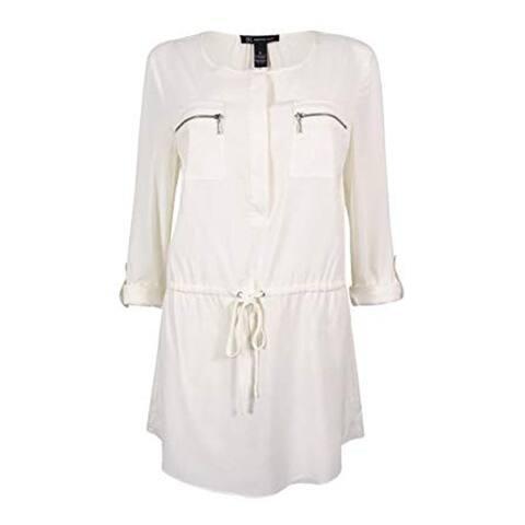 INC Intl' Concepts Women's Drawstring Tunic Top, Windsor White, 8