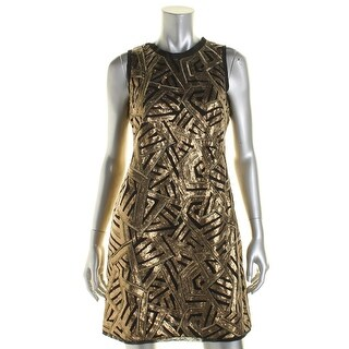 Vince Camuto Womens Sequined Sleeveless Cocktail Dress