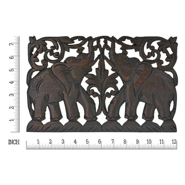 Handmade Jubilant Double Thai Elephant Calves Teak Wood Wall Art 7 x12 Inches (Thailand)