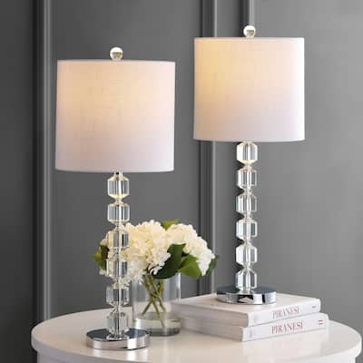 """Cary 27.5"""" Crystal/Metal LED Table Lamp Set, Chrome by JONATHAN Y"""