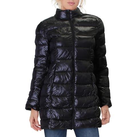 Aqua Womens Packable Coat Quilted Puffer - Black
