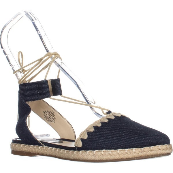 Nine West Unah Pointed Toe Flat Lace Up Sandals, Navy