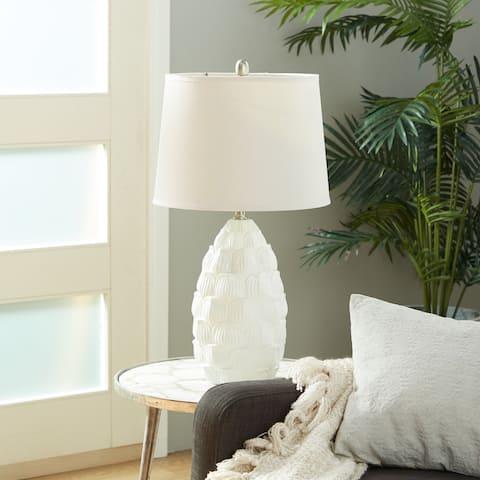 Studio 350 White Polystone Rustic Table Lamp (Set of 2) - 8 x 28
