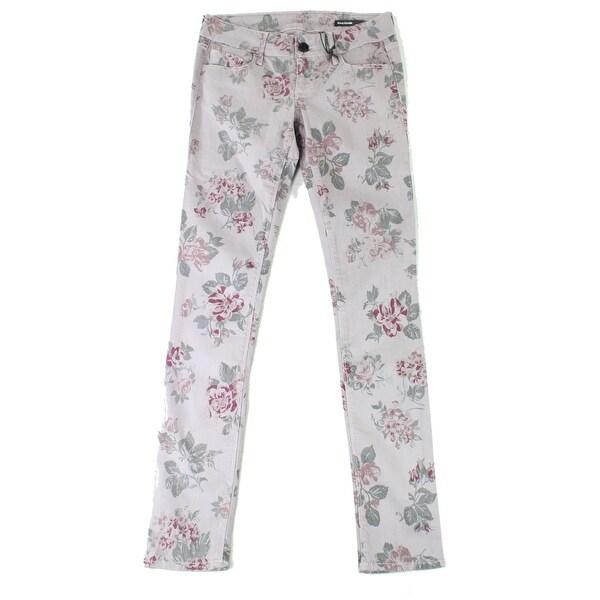 649da3da52e8f Shop Black Orchid Purple Women's Size 26X32 Slim Skinny Floral Jeans ...