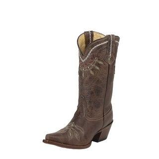Tony Lama Western Boot Womens Leather Stitched Cutout Chocolate VF6015