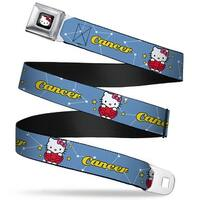 Hello Kitty W Red Bow Full Color Black Hello Kitty Zodiac Cancer Webbing Seatbelt Belt