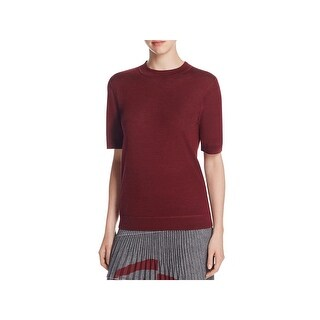 DKNY Womens Petites Casual Top Ribbed Knit Short Sleeves