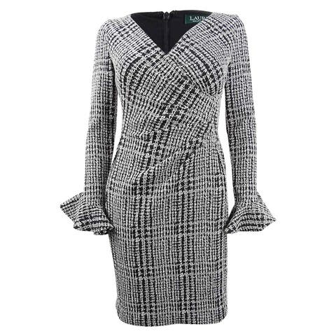Lauren by Ralph Lauren Women's Petite Plaid Ruched Dress - Black/White
