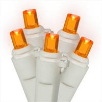 Set Of 60 Amber-Orange LED Wide Angle Christmas Lights - White Wire