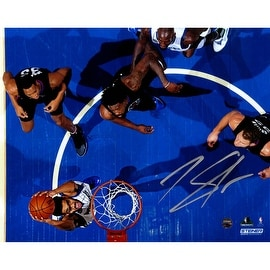Karl-Anthony Towns Signed Dunk vs. Los Angeles Clippers Top View 8x10 Photo