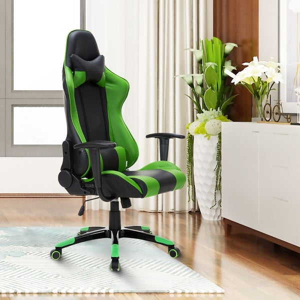 Costway High Back Racing Style Gaming Chair Reclining Office Executive Task Computer - Green