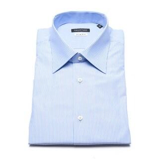 Valentino Men's Slim Fit Pinstripe Cotton Dress Shirt Light Blue