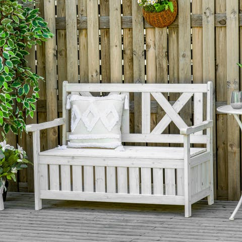 29 Gallon Garden Storage Bench with Waterproof Frame, Large Entryway Deck Box w/ Unique X-Shape Back, Louvered Side Panels