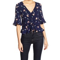 Elodie Blue Perfume Lipstick Print Ruched Ruffled Large L Blouse