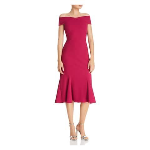 ADRIANNA PAPELL Purple Cap Sleeve Midi Knife Pleated Dress Size 4