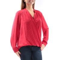 Womens Red Long Sleeve V Neck Casual Faux Wrap Top  Size  14