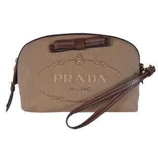 Prada Women's Brown Canvas 1NE010 Contenitore Small Cosmetic Bag Wristlet - Beige