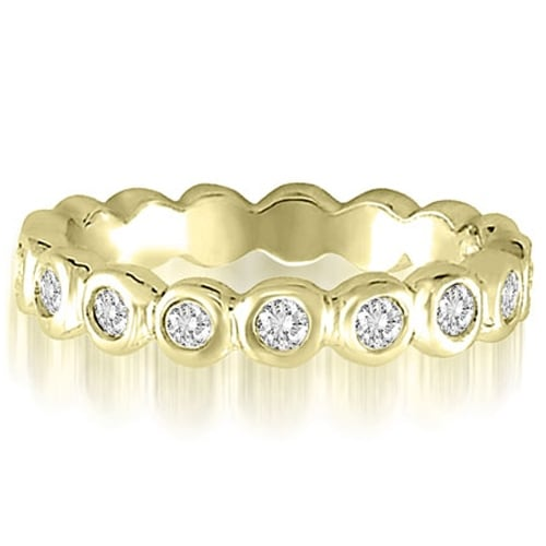 0.65 cttw. 14K Yellow Gold Round Cut Bezel Set Diamond Eternity Ring