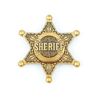 Hand Fidget Spinner - USA Stock - Sheriff Star - Stress and Anxiety Reliever - GOLD