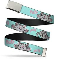 Blank Chrome  Buckle Soft Kitty Poses Pale Turquoise Pink Webbing Web Belt