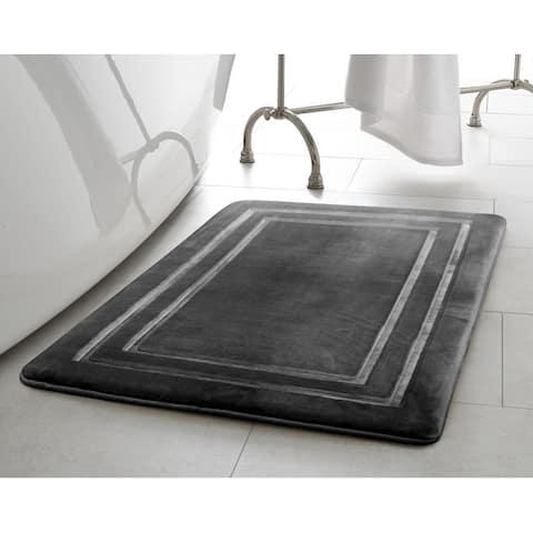 Oliver Brown Border Embossed Memory Foam Bath Mat,