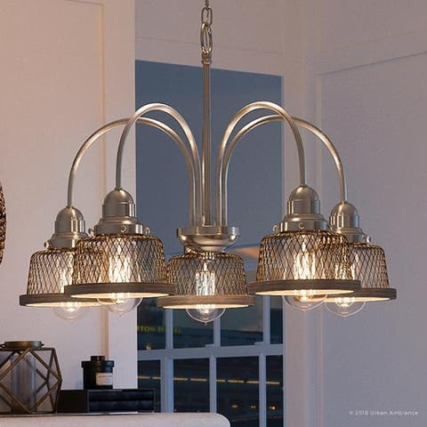 """Luxury Vintage Chandelier, 16.25""""H x 24""""W, with Industrial Chic Style, Brushed Nickel Finish by Urban Ambiance"""