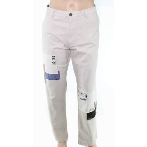 Club Room Mens Pants Beige Size 40X30 Khakis Chinos Stretch Patch-Work