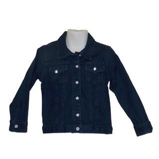 Little Girls Stretch Twill Straight Dark Denim Jacket With Crystal Buttons 2T-4T