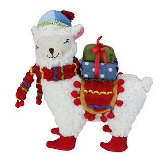 8.5 Bohemian Multi-Color Plush Llama with Hat Christmas Tabletop Figure