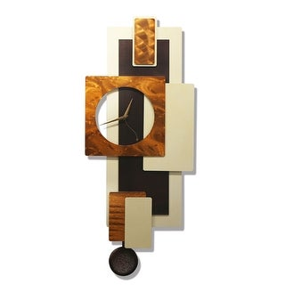 Statements2000 Brown / Copper / Cream 32-inch Abstract Metal Wall Clock - Cream Tectonic