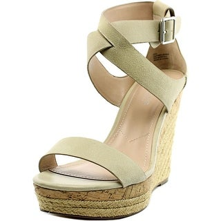 Charles By Charles David Adament Women Open Toe Suede Ivory Wedge Sandal